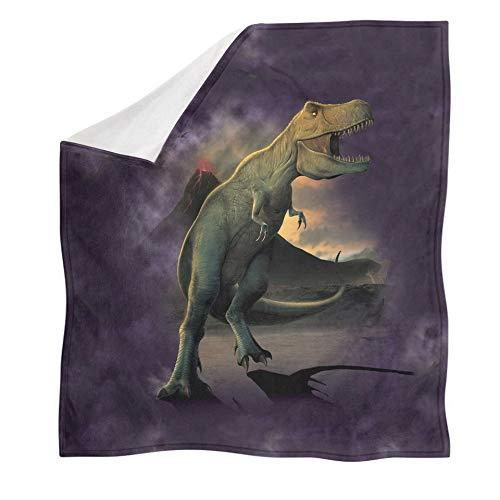 ZGZZD Sofa Throw Blankets,Winter Soft Warm 3D Print Sofa Throw Blanket Chic Purple Volcanic T-Rex Dinosaur Animal Printed King Size Fluffy Blanket For Bed Couch Camping Travel,110X140Cm