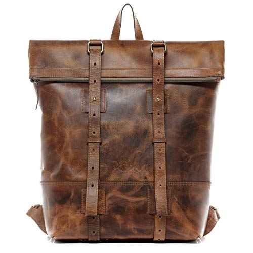 SID & VAIN Rucksack echt Leder CHAZ XXL groß Backpack Tagesrucksack Kurierrucksack Laptoprucksack Laptopfach 15.6