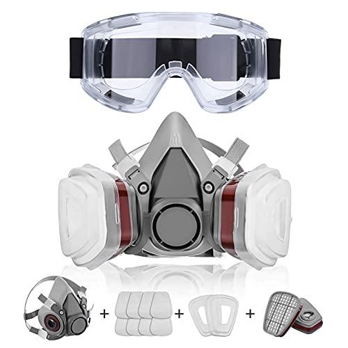 Cubierta de pintura para la cara del polvo, para pintura, polvo, partículas, pulido a máquina, soldadura y otra protección del trabajo, con gafas de seguridad y 8 paquetes de filtro de algodón