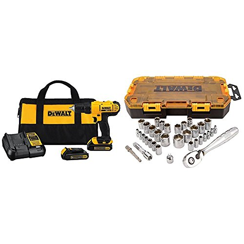 Dewalt DCD771C2 20V MAX Cordless Lithium-Ion 1/2 inch Compact Drill Driver Kit and Drive Socket Set (34 Piece), 1/4' and 3/8'