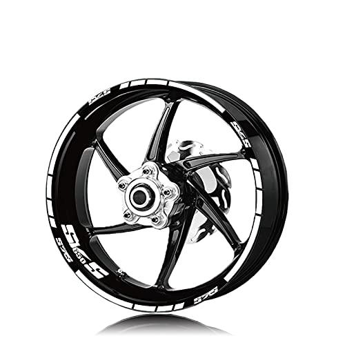 Ruedas de la Motocicleta Llantas Pegatinas Reflectantes Logue Logo DE Logo DE LOS COMPLETOS Decorativos Moto Set para Suzuki SV650S SV 650S SV650 S (Color : XT LQ SV650S Wht)