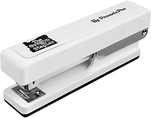 PraxxisPro, The Oregon Stapler, Built in USA, Heavy Duty, Built-in Staple Remover, Staples 2 to 25 Sheets, Includes Box of Staples, Jam Staple (White)