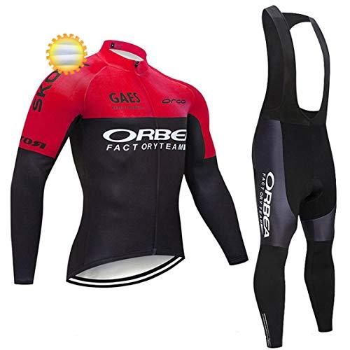 ADKE Maillot de Cycliste de Manches Longues + Pantalons Vélo avec Gel 5D Rembourré per VTT Sports, Hiver Thermique Vêtements/Combinaison Cycliste Homme