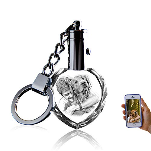 Crystal Keychain Photo - Lighted Custom Crystal Picture Etched Key chain, Heart