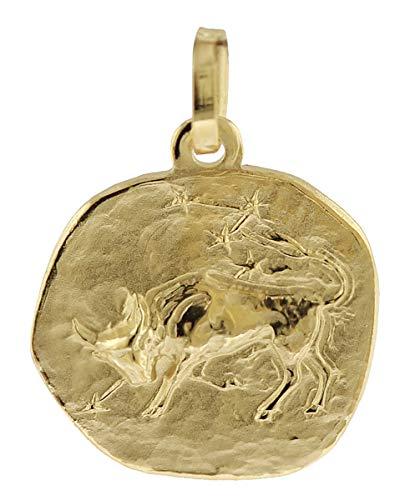 trendor Sternzeichen-Anhänger Stier 333 Gold 16 mm Gold Anhänger Sternzeichen für Damen, Herren und Kinder, Sternzeichen Echtgold, Anhänger Gold, 08729