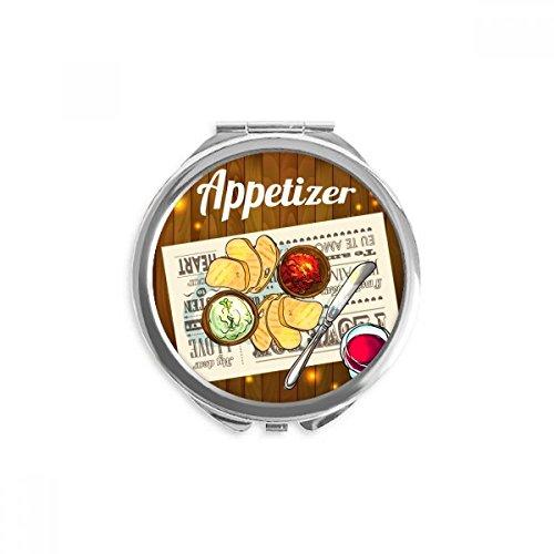 DIYthinker Appetizer Scheibe Brot Wein Spiegel Runde bewegliche Handtasche Make-up 2.6 Zoll x 2.4 Zoll x 0.3 Zoll Mehrfarbig