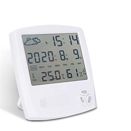 EVILTO 温湿度計 デジタル【天気予報機能】目覚まし時計 室内温度計湿度計 温湿度記憶/アラーム/日付/時報機能 LCD大画面 見やすい コンパクト 置き掛け両用温度計 オフィス 卓上湿度計 健康管理 肌の潤い インフル対策用 乾燥対策 熱中症予防 出