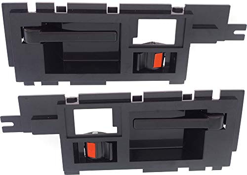 Interior Door Handles compatible with Set of 2 Front Left and Right Side Plastic Smooth Black W/door lock button