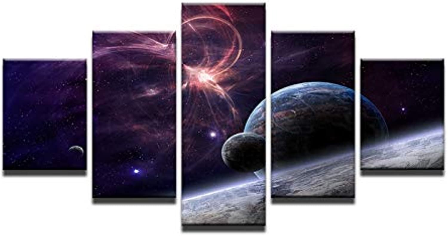 5pcs   Set Large Abstract Planet Earth and Moon Illustration Canvas Print Painting Still Life Earth Wall Art Picture Home Decor