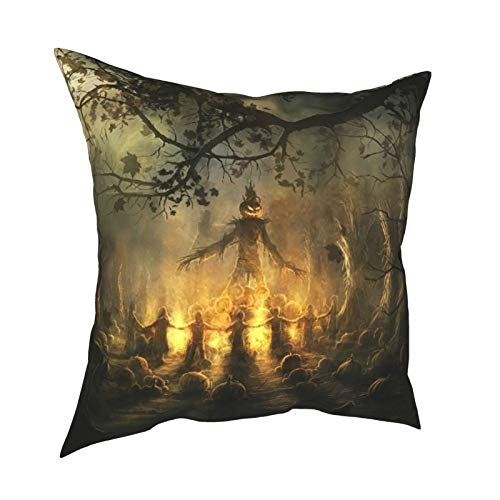 HXJIULI Halloween Spirits Four Seasons Throw Pillowcase Home Decorative Square Cushion Cover Double-Sided Printing Cozy Throw Pillows Covers 20X20in