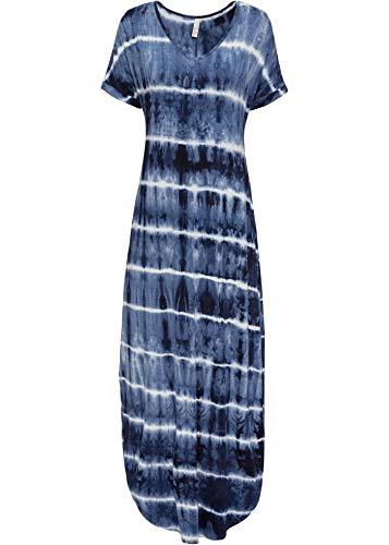 bonprix Schmeichelhaftes Maxikleid mit V-Ausschnitt blau/weiß Bedruckt 36/38 für Damen