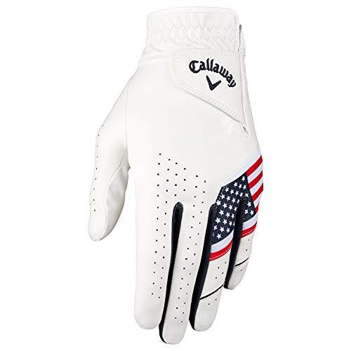 Callaway Golf Men's Weather Spann Premium Japanese Synthetic Golf Glove (Large, Single, USA, Worn on Left Hand )