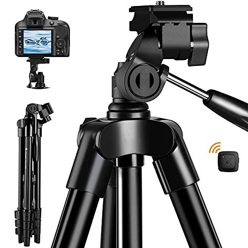 Fotopro Handy Stativ Kamera Stativ iPhone Stativ, 48 Zoll Smartphone Stativ für iPhone und Kamera Canon Nikon, Alumunium leichtes Staiv mit Bluetooth Fernbedienung & Handy Halterung