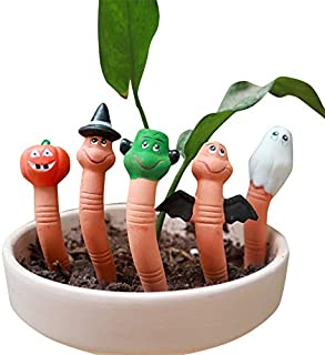 5 Pcs Worm Pack Wormie The Gardeners Terracotta Water Sensor Plant Watering Reminder Cute Halloween Worm Flower Pot Ornament