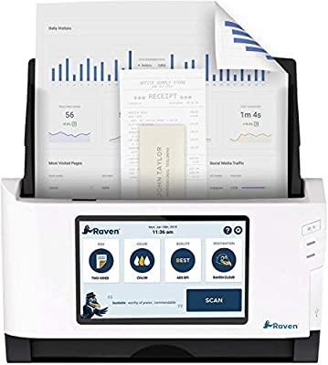 Raven Original Document Scanner - Huge LCD Touchscreen, Color Duplex Feeder (ADF), Wireless Scanning to Cloud, WiFi, Ethernet, USB, Home or Office from Raven
