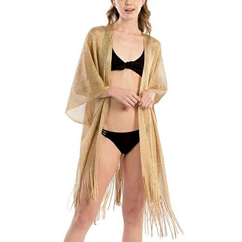 by you Women Fashion Summer Beach Metallic Net Bikini Shawl Cover Up Kimono Cardigan (Metallic Net Shawl - Gold)