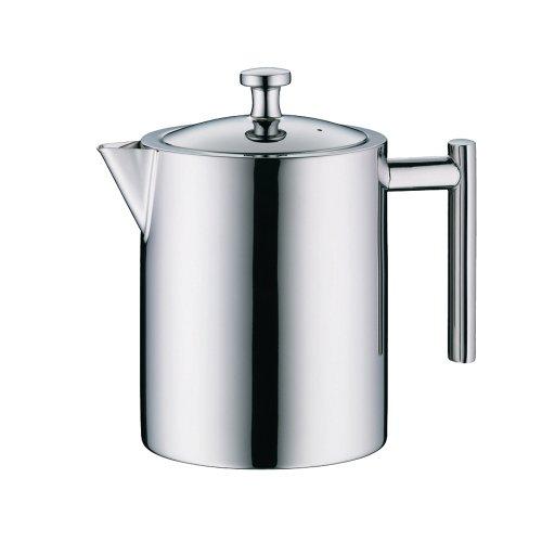 alfi Teekanne Edelstahl mit Teesieb 1,4 l, Teezubereiter für direktes Brühen in die Kanne, Vintage Teekannen-Set: Kanne + Metall- Siebeinsatz, ideal für losen Bio-Tee, Spülmaschinenfest - 2109.000.140
