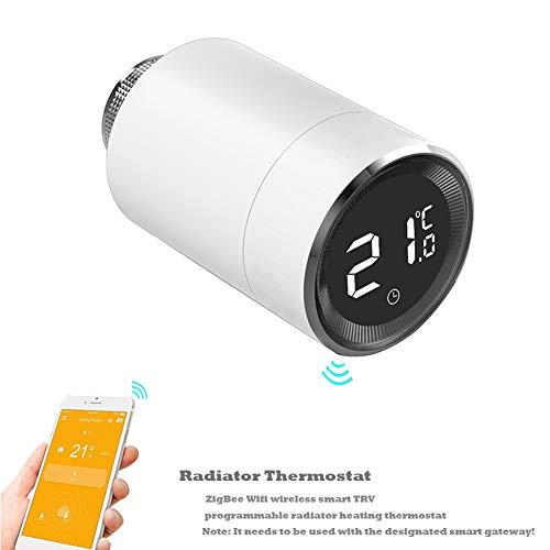 Qiumi Intelligentes Thermostat-Heizkörperventil mit LCD-Temperaturanzeige, automatischer TRV-Temperaturregelung, ZigBee,Mit innovativer Fenstererkennungsfunktion.