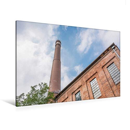 CALVENDO Premium Textil-Leinwand 120 x 80 cm Quer-Format Historische Fabrik mit Schornstein im Backstein Stil. Kulturzentrum Faust, Leinwanddruck von Michael Speer