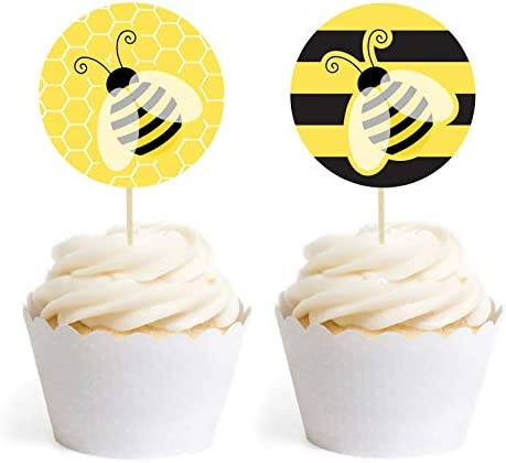 Andaz Press Busy Little Bee Black and Yellow Baby Shower Birthday Party Collection, Cupcake Wrappers, Stripes and Bee Honeycomb Graphic, 24-Pack