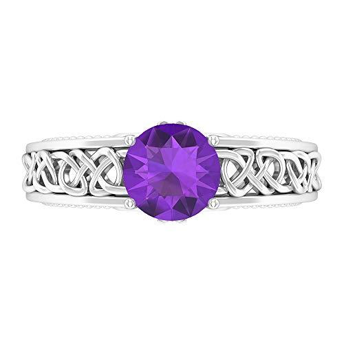 Anello solitario con ametista, 7 mm, nodo celtico, anello di fidanzamento, D-VSSI, anello in moissanite, in oro massiccio, 14K Oro bianco, Size:EU 46