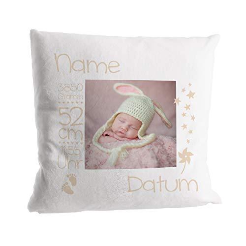 Striefchen® Flausch-Kissen als Geschenk zur Taufe oder Geburt mit Foto - Babygeschenk oder Geburtskissen