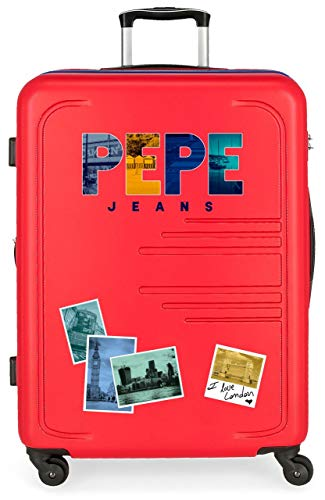 Pepe Jeans Edison Maleta Mediana Rojo 48x69x28 cms Rígida ABS Cierre combinación 80L 3,7Kgs 4 Ruedas Extensible