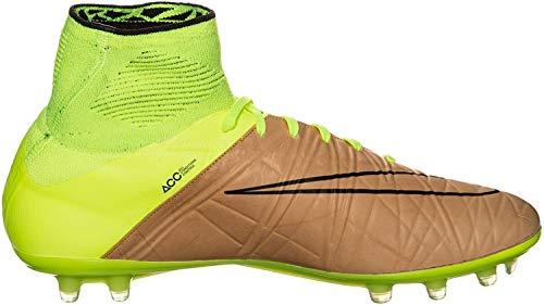 Nike Herren Hypervenom Phantom II LTHR FG Fußballschuhe, Gold Gelb Schwarz Leinwand Schwarz Volt, 42 EU