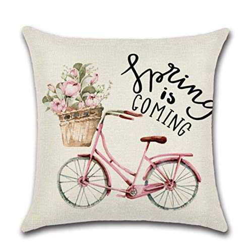 Linen Series Zl-13 Pink Cute Truck Spring Printed Cushion Cover Throw Pillow Cover Room Decoration for Home Car Sofa Sofa
