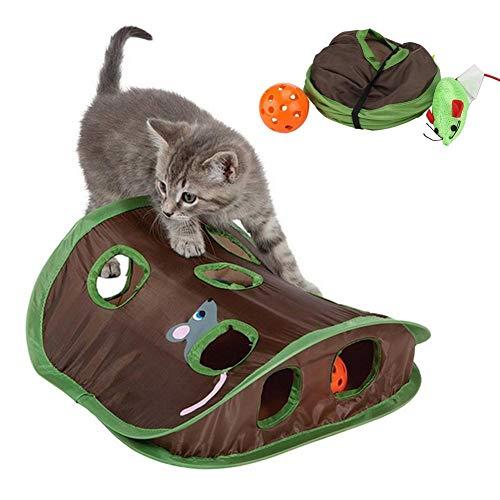 Kitabetty Katzenspielzelt Spielzeug, Katzenspielmäuse Versteckspiel Pop-up Katzenspiel Spielzeug, 9 Löcher Interaktives Mausjagdspielzeug mit Glockenball für Kätzchen und kleine Haustiere
