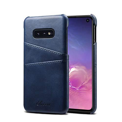 TACOO Schutzhülle für Galaxy S10e, aus Leder, superdünn, weiches Polyurethan, mit Zwei Kreditkartenfächern, Ultra dünn, für S10E 5,8 Zoll (5,8 Zoll) 2019, blau