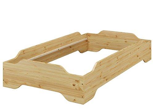 Erst-Holz® Stapelbett, Pensionsbett, Designer Bett 90x200 Massivholz Kiefer ohne Zubehör 60.56-09 oR