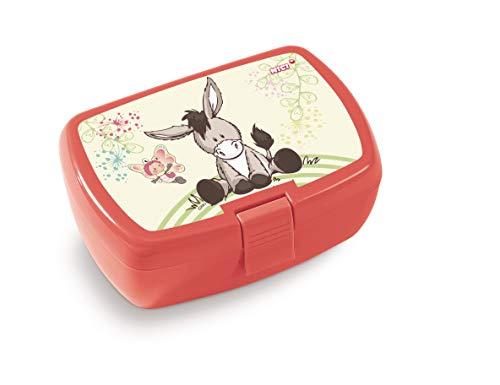 NICI 45446 Brotdose, Esel und Schmetterling, 18x12,5x6,5cm, rot