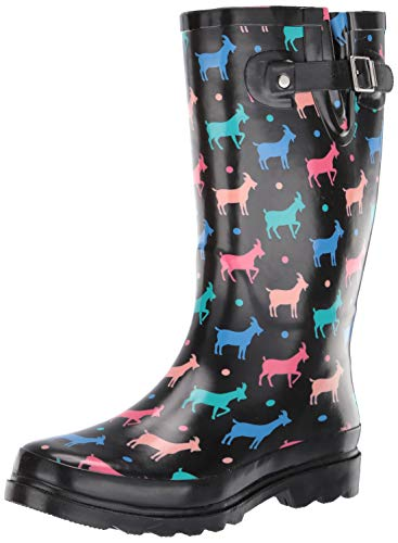 Western Chief Women's Rain Boot's Printed Tall, Black, 9 M US