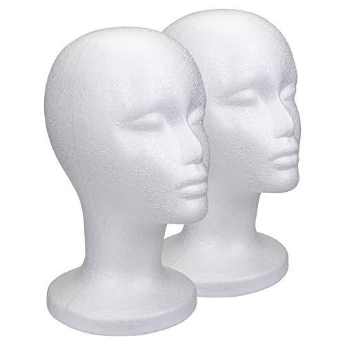 Foraineam 2 Pack 12 Inch Styrofoam Head Female Foam Wig Head Mannequin Manikin Cosmetics Model Head Wigs Display Glasses Hats Hairpieces Stand