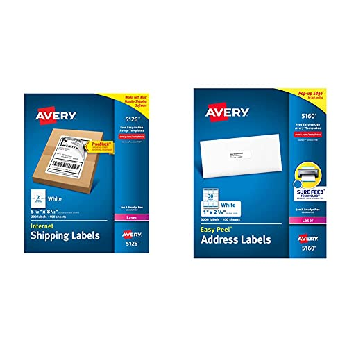 Avery 5126 Shipping Address Labels, Laser Printers, 200 Labels, Half Sheet Labels, Permanent Adhesive, TrueBlock, White & 5160 Easy Peel Address Labels , White, 1 x 2-5/8 Inch, 3,000 Count (Pack of 1)