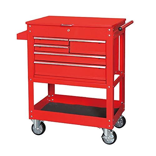 Diy Werkzeuge Wagen Mit Griff 5 Schubladen 1 Regal Rollenwerkzeugschrank Aufbewahrungsbox Werkstatt Wagen Garage Push-Pull Wagen Griff Leicht Zu Bewegen ( Farbe : Rot , Size : 76.3x48.8x105cm )