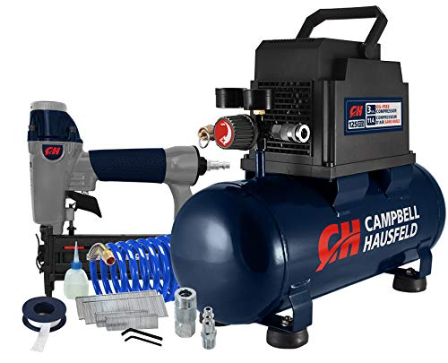 Campbell Hausfeld 3 Gallon Portable Air Compressor with Nailer & Connection Kit (DC030097E)