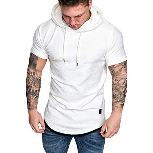 Xmiral Kurzarm Hoodie Sweatshirt Herren Einfarbig T-Shirt mit Kapuze Outwear Männer Sommer Fake Zwei Stücke Casual Tops(Weiß,L)