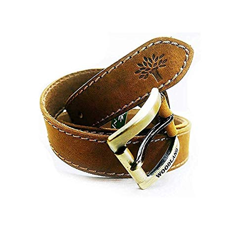 woodland leather belt Men's Leather Casual Belt (Brown, 32)