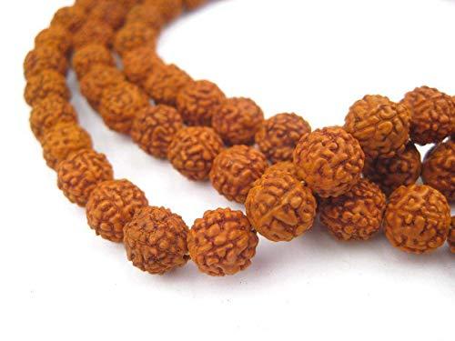 Storite Rudraksha Mala 108 Cuentas Collar, Cuentas de semilla Natural de Himalaya Rudraksha Cuentas de oración para muñeca Mala Wrap Pulsera tamaño 9 mm (10 Unidades)