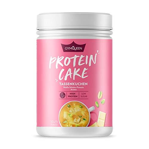 GymQueen Protein Cake 500g | High Protein Tassenkuchen für die Mikrowelle | Kalorienreduziert | Backmischung für Tassen Muffins oder Cupcakes mit viel Eiweiß | Weiße Schoko-Pistazie Aroma