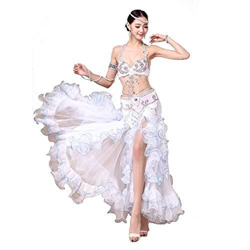 Bauchtanz Kostüm Kleid BH Gürtel Rock Tanzen Flamenco Röcke Kleider Frauen Kleidung Zigeuner Langarm Tops BH Bund Maxi Rock Anzug Sexy Bauch Kleidung Kleid (Farbe : Milky White, Size : L)