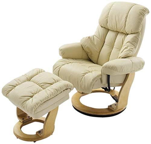 Robas Lund Sessel Leder Relaxsessel TV Sessel mit Hocker bis 130 Kg, Fernsehsessel Echtleder creme, Calgary