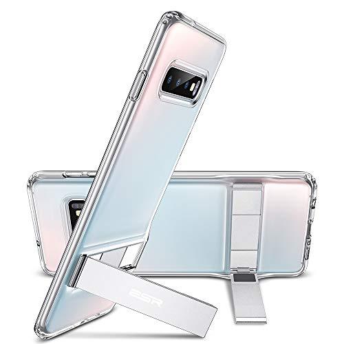 ESR Metal Kickstand Funda para Samsung Galaxy S10 Plus, [Soporte Vertical y Horizontal] Respaldo para PC con Parachoques de TPU Flexible para Samsung S10 Plus, Transparente
