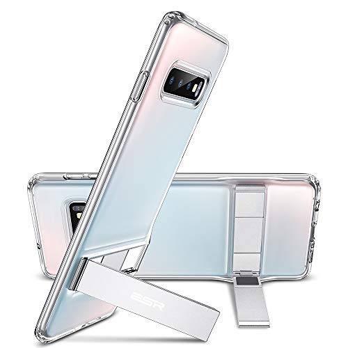 ESR Metal Kickstand Funda para Samsung Galaxy S10 Plus, [Soporte Vertical y Horizontal] Respaldo para PC con Parachoques de TPU Flexible para Samsung S10 Plus-Transparent