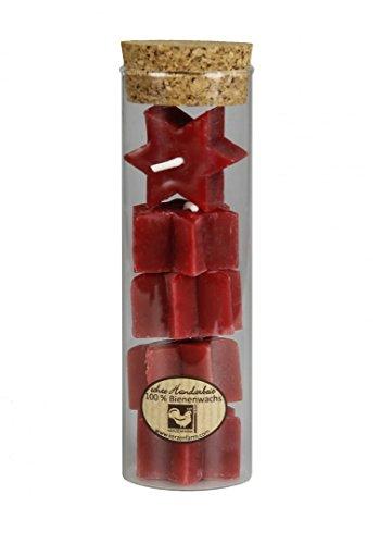 Kerzenfarm Hahn 0408 Teelichter Stern aus Bienenwachs rot