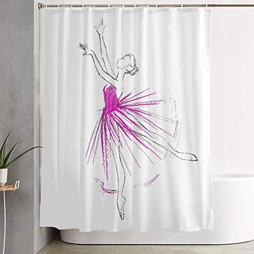 VINISATH Duschvorhang,Choreografie Handzeichnung von Ballerina Ballett Tänzerin Mädchen Umriss Pointe Sketch,wasserdichter Badvorhang mit 12 Haken Duschvorhangringen 180x180cm
