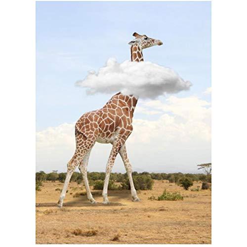 ASLKUYT Afrikanisches Tier Giraffe Ramble On Savannah Moderne lustige Plakatmalerei auf Leinwand Wandkunst für...