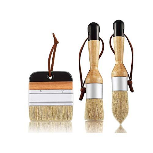 YWSZJ Pinceles de Pintura de Tiza y Cera de 3 Pinceles Cepillos de Plantilla de cerdas para Muebles de Madera Decoración de la Pared
